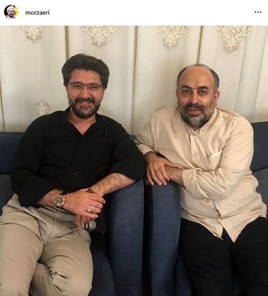 امیرحسین مدرس و دوست روحانی معروفش+عکس