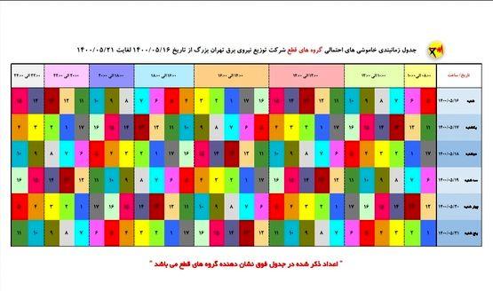 جدول خاموشیهای تهران از ۱۶ تا ۲۱ مرداد ۱۴۰۰
