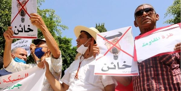 تظاهرات مردم تونس در اعتراض به توافقات سازش رژیمهای عربی با رژیم صهیونیستی