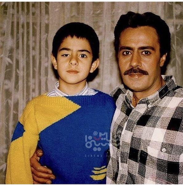 پسر مرحوم خسرو شکیبایی در آغوش پدر + عکس