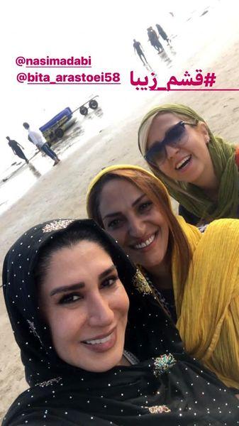 خانم بازیگر و دوستانش در سواحل زیبای قشم + عکس