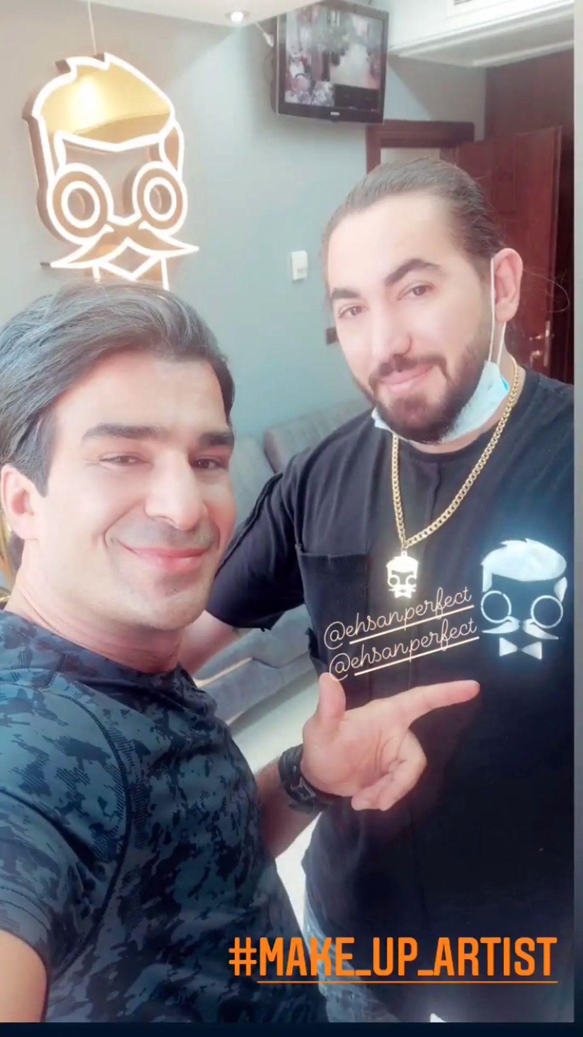 مدل موی جدید یوسف تیموری در کنار آرایشگرش + عکس