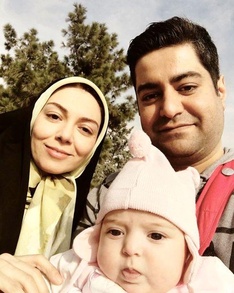 عکس آزاده نامداری و همسر و دختر تپلی اش