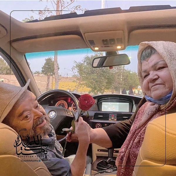 اسدااله یکتا و همسرش در ماشین مدل بالاشون + عکس