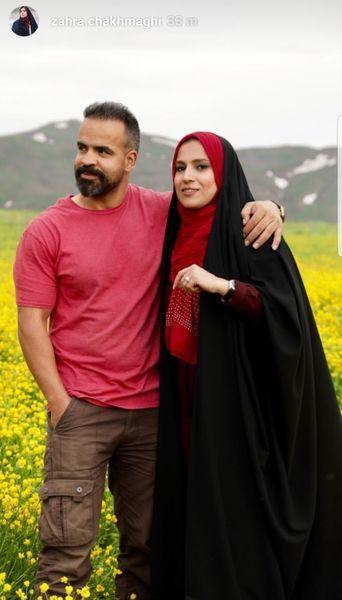 خانم مجری و همسرش در دشتی زیبا + عکس