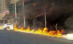 آتش سوزی در شهرک صنعتی نجف آباد اصفهان