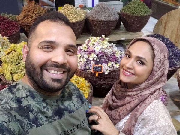 فریبا باقری و همسرش در عطاری + عکس
