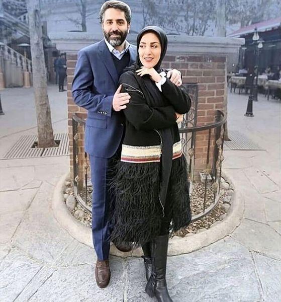 ژیلا صادقی در آغوش همسرش + عکس