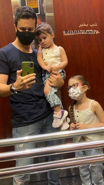 شاهرخ استخری و دخترانش در آسانسور + عکس