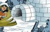 کریکاتور وضعیت مسکن زمین لرزه زدگان در روزهای برفی*