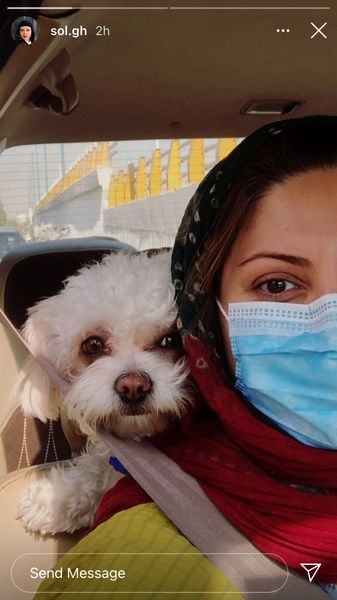 سلفی خانم بازیگر با سگش + عکس