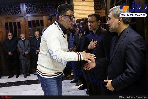 فرزند رهبری،رضا رشیدپور و رئیس اطلاعات سپاه در یک مراسم ختم