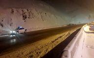 بارش برف سنگین در جاده چالوس
