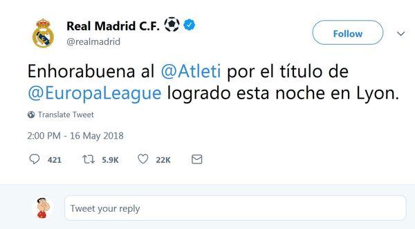 تبریک رئال مادرید به اتلتیکو برای قهرمانی در لیگ اروپا +عکس