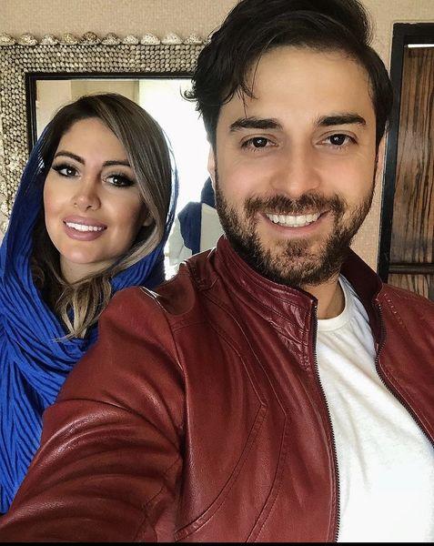 سلفی جدید بابک جهانبخش با همسرش + عکس