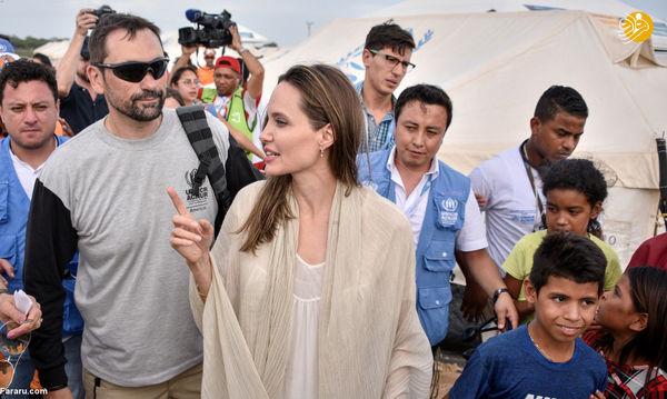 آنجلینا جولی در میان پناهجویان ونزوئلایی