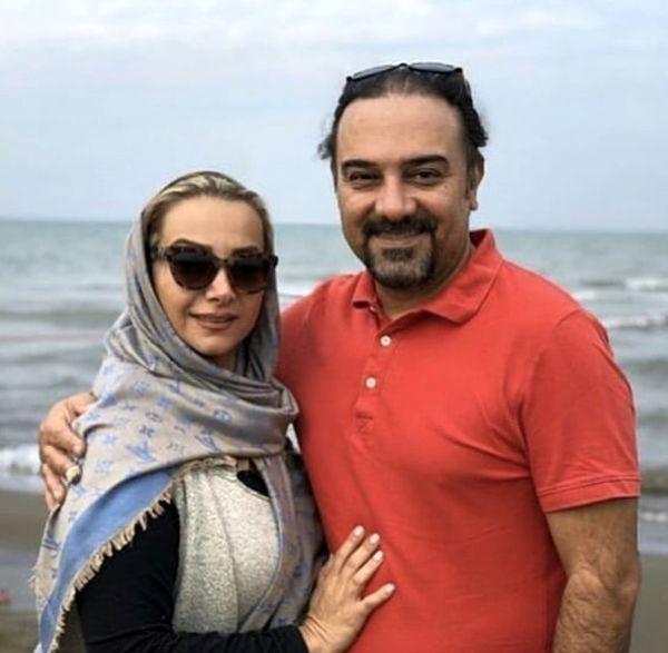 برزو ارجمند و همسرش لب ساحل + عکس