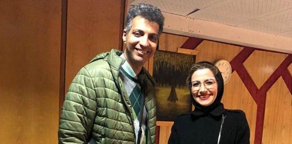 برخورد ناگهانی خانم مجری با عادل فردوسی پور+عکس