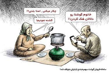کاریکاتور:سامانه توزیع گوشت اینترنتی متوقف شد!