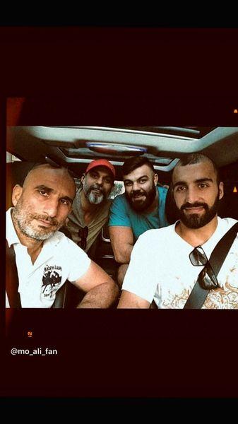 پیمان معادی و دوستانش در ماشین + عکس