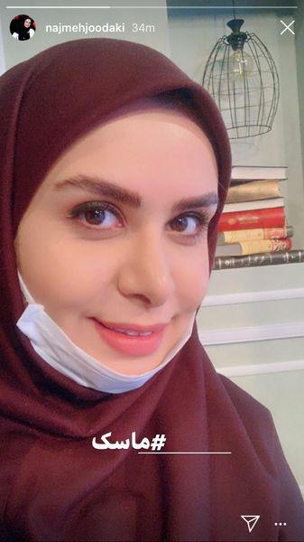 پروتکل های بهداشتی خانم مجری در محل کار + عکی