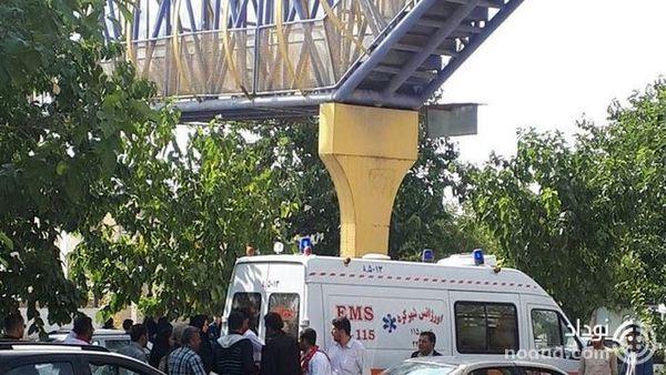 سقوط وحشتناک دختر 20 ساله از پل هوایی در شهرکرد !