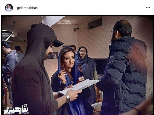 گلاره عباسی در پشت صحنه شاهین+عکس
