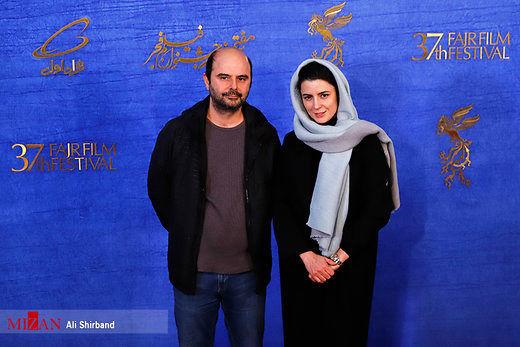 لیلا حاتمی کنار علی مصفا روی فرش قرمز جشنواره
