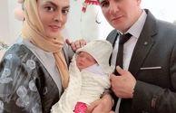 شهربانو منصوریان با همسر و فرزند تازه متولد شده اش+عکس