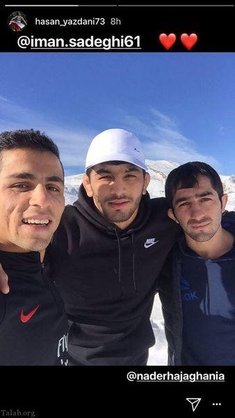 کوهنوردی افتخار کشتی ایران با دوستانش+عکس